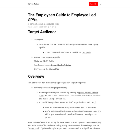 The Employee's Guide to Employee Led SPVs
