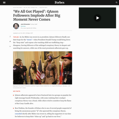 'We All Got Played': QAnon Followers Implode After Big Moment Never Comes
