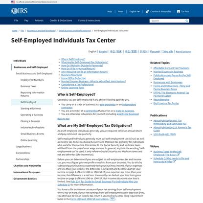 Self-Employed Individuals Tax Center   Internal Revenue Service