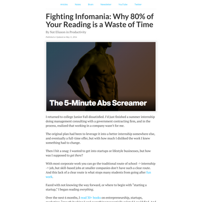 Fighting Infomania: Why 80% of Your Reading is a Waste of Time - Nat Eliason
