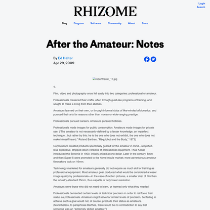 After the Amateur: Notes