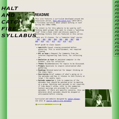 Halt and Catch Fire Syllabus - Halt and Catch Fire Syllabus