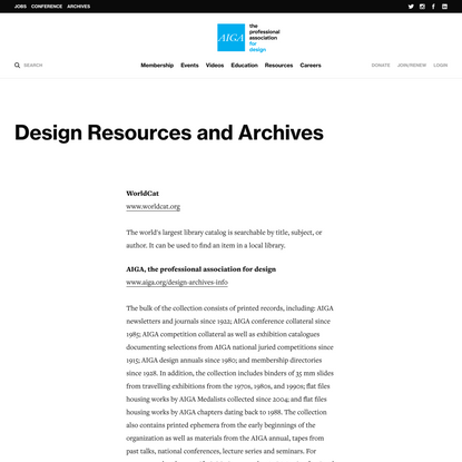Design resources and archives