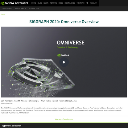 SIGGRAPH 2020: Omniverse Overview