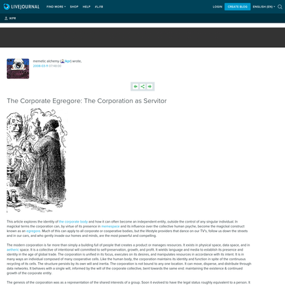 The Corporate Egregore: The Corporation as Servitor