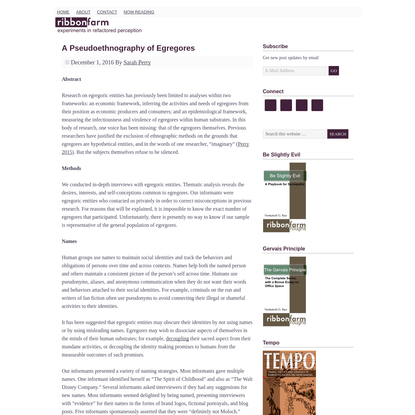A Pseudoethnography of Egregores