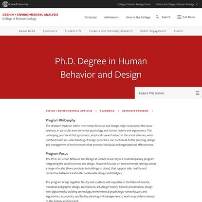 Ph.D. Degree in Human Behavior and Design | Design + Environmental Analysis