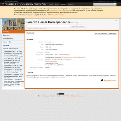 Lorenzo Homar Correspondence (C0756) -- Lorenzo Homar Correspondence