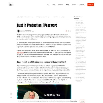 Rust in Production: 1Password