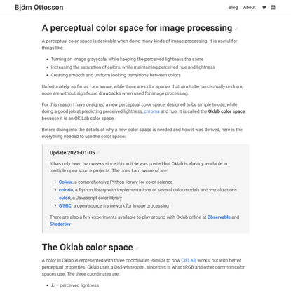 A perceptual color space for image processing