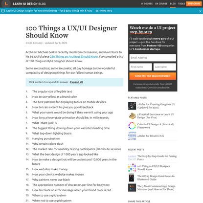 100 Things a UX/UI Designer Should Know