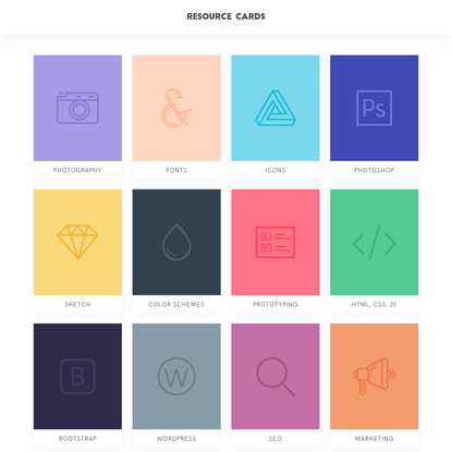Resource Cards - Selected free resources for designers
