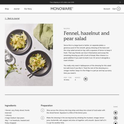 Fennel, hazelnut and pear salad