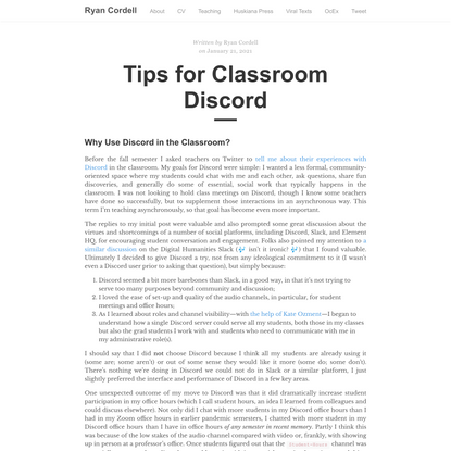 Tips for Classroom Discord