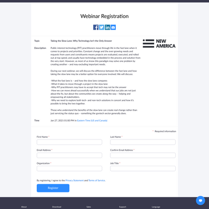 Webinar Registration - Zoom