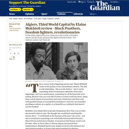 Algiers, Third World Capital by Elaine Mokhtefi review – Black Panthers, freedom fighters, revolutionaries