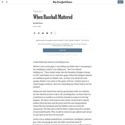Opinion | When Baseball Mattered (Published 1997)