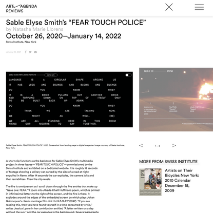 """Sable Elyse Smith's """"FEAR TOUCH POLICE"""" - Features - art-agenda"""