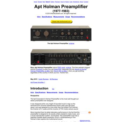 Apt Holman Preamplifier Review