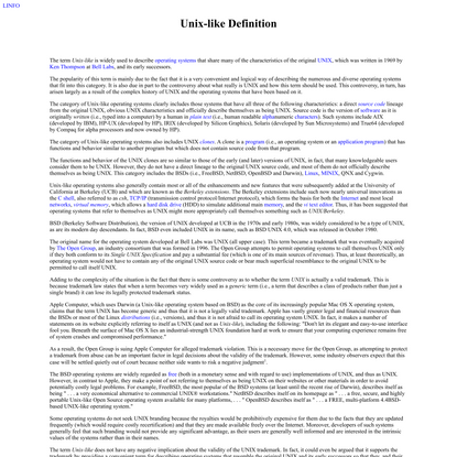 Unix-like definition by The Linux Information Project (LINFO)