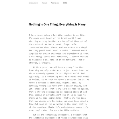 Nothing is One Thing; Everything is Many - Christopher Butler