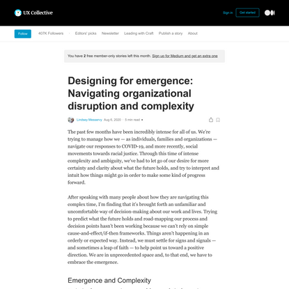 Designing for emergence: Navigating organizational disruption and complexity