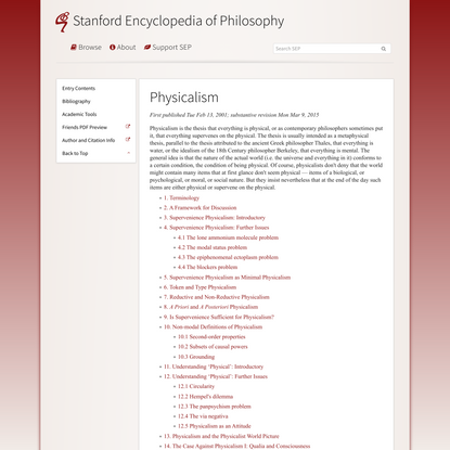 Physicalism (Stanford Encyclopedia of Philosophy)