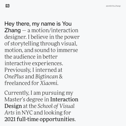 You Zhang – Motion / Interaction Designer