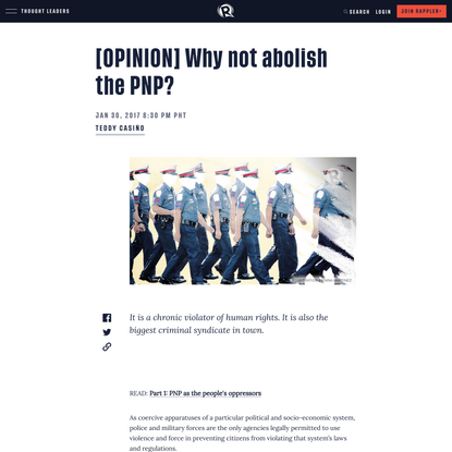 [OPINION] Why not abolish the PNP?