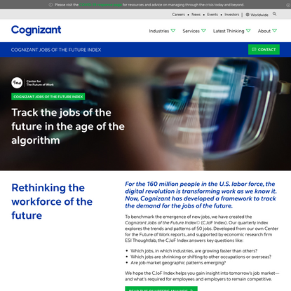 Jobs of the Future Index—Future of Work | Cognizant