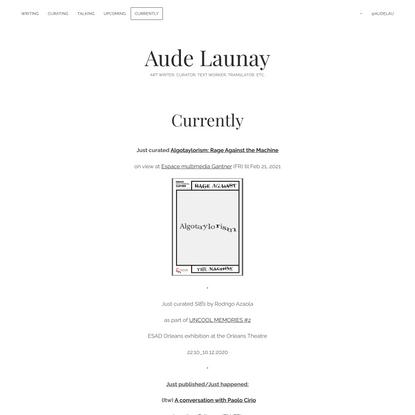 Aude Launay – Art writer, curator, text worker, translator, etc.