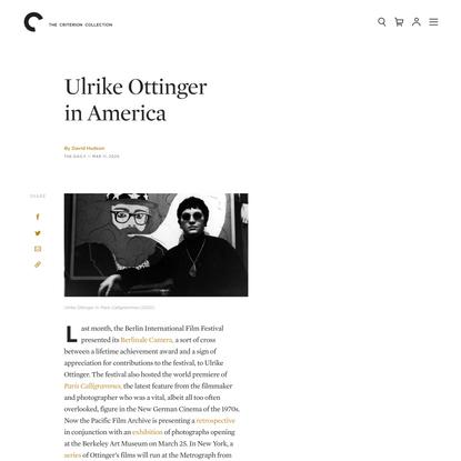 Ulrike Ottinger in America