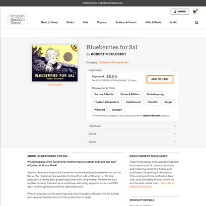 Blueberries for Sal by Robert McCloskey: 9780140501698   PenguinRandomHouse.com: Books