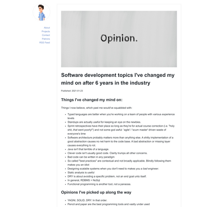 Software development topics I've changed my mind on after 6 years in the industry - Blogomatano