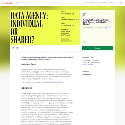 RadicalxChange Livestream: Data Agency: Individual or Shared? Tickets, Thu, Jan 28, 2021 at 12:00 PM   Eventbrite