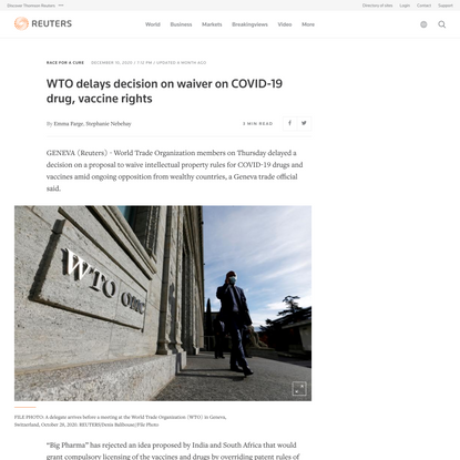 WTO delays decision on waiver on COVID-19 drug, vaccine rights