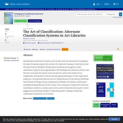 The Art of Classification: Alternate Classification Systems in Art Libraries