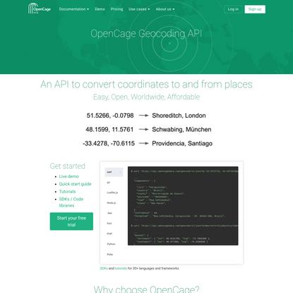 OpenCage Geocoder - Easy, Open, Worldwide, Affordable Geocoding