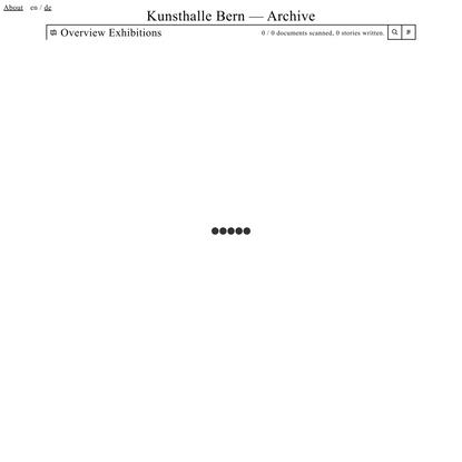 Kunsthalle Bern – Archiv