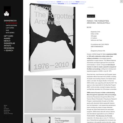 FEROX / The Forgotten Archives - Nicolas Polli — SKINNERBOOX