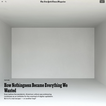 How Nothingness Became Everything We Wanted - The New York Times