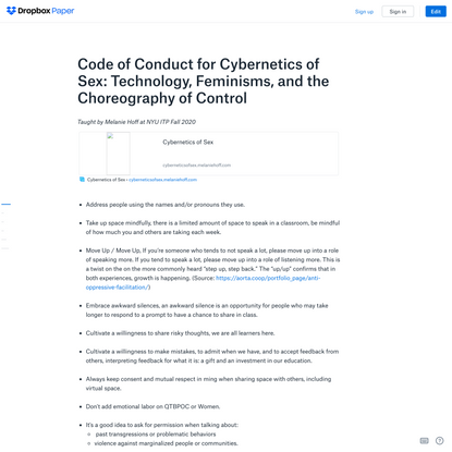 Code of Conduct for Cybernetics of Sex: Technology, Feminisms, and the Choreography of Control
