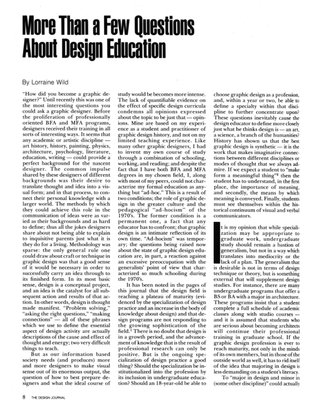 """Lorraine Wild, """"More Than a Few Questions About Design Education,"""" 1982"""