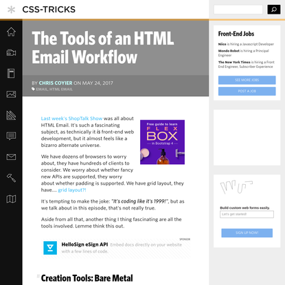 The Tools of an HTML Email Workflow | CSS-Tricks