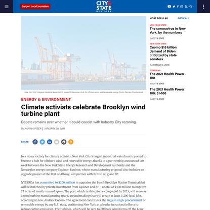 Climate activists celebrate Brooklyn wind turbine plant