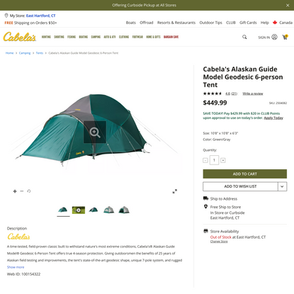 Cabela's Alaskan Guide Model Geodesic 6-Person Tent | Cabela's