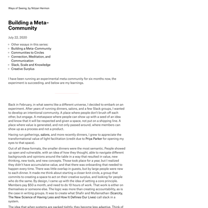 Building a Meta–Community · Ways of Seeing