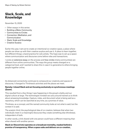 Slack, Scale, and Knowledge · Ways of Seeing