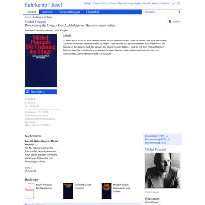 Die Ordnung der Dinge: Eine Archäologie der Humanwissenschaften von Michel Foucault - Suhrkamp Insel Bücher Buchdetail