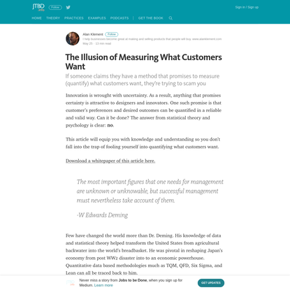 The Illusion of Measuring What Customers Want - Jobs to be Done